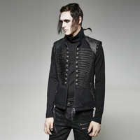 Steampunk Gothic Military Uniform Black Sleeveless Fancy Embroidered Waistcoats Punk Zipper V Collar Handsome Leather Vest Coats