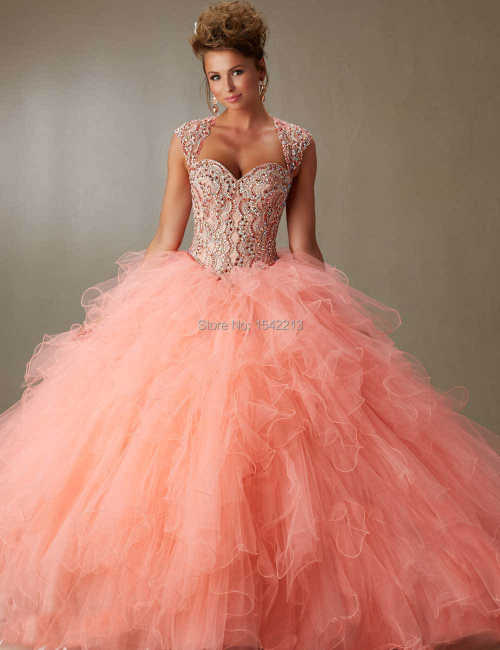 df10d149d007 Coral Light Blue Sweetheart Beaded Ball Gown Quinceanera Dress WIth  Removable Strap Girls Sweet 16 Prom Gowns 2017