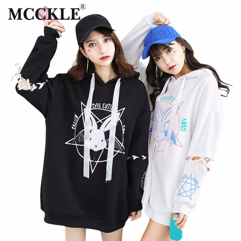MCCKLE Harajuku To-stil Sweatshirt Til Kvinder Mønster Kwaii Ladies Hoody Shirts Langt Løst Trainingsæsker Autumn Girl Hoodies