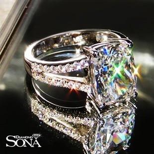 Anillo de Bodas de lujo 3.85 carat talla cojín anillo de sona Diamante Sintético anillos de