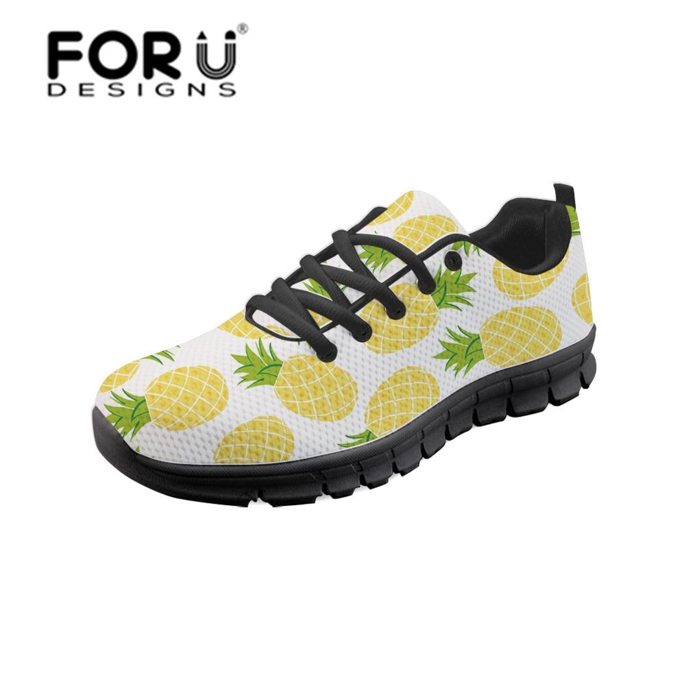 FORUDESIGNS Summer Pineapple Print Women's Vulcanize Shoes Women Breathable Sneakers Tenis Feminino Ladies Shoes Female Footwear pineapple print pillowcase