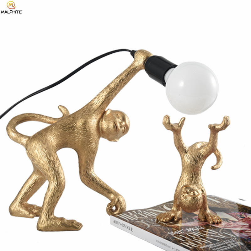Nordic Golden Monkey Table Lamp Simple Home Deco Lamps Table Bedroom Bar Luminaria Table Light LED Eye Protection FixturesNordic Golden Monkey Table Lamp Simple Home Deco Lamps Table Bedroom Bar Luminaria Table Light LED Eye Protection Fixtures
