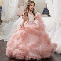 PC001 Europa y América los niños princesa del vestido de la flor vestido de boda de los niños tirón larga de la muchacha del vestido puffy vestido