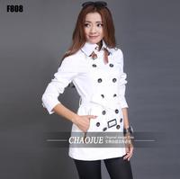 Beyaz kırmızı kadınlar için 2017 ilkbahar sonbahar moda ince kısa trençkot avrupa palto kadın clothing kadın casaco feminino