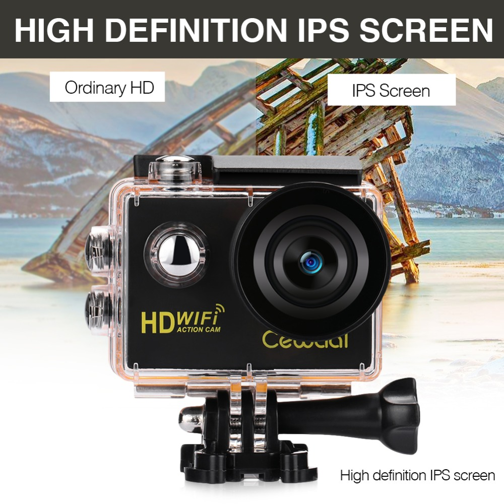 Cewaal Action Camera 120 Degree 1080P HD 4K Camcorder Wifi 2.0 Inch IPS screen DVR Sports Camera Diving Hiking Waterproof Camera