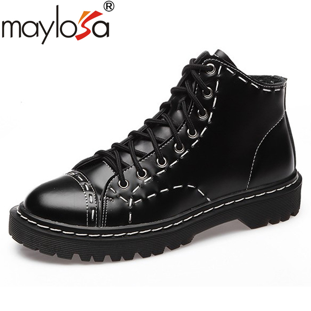 MAYLOSA 100% Genuine Leather Short martin Boots Classical women Lace Up Ankle  Boots Ladies Brand Flat Shoes