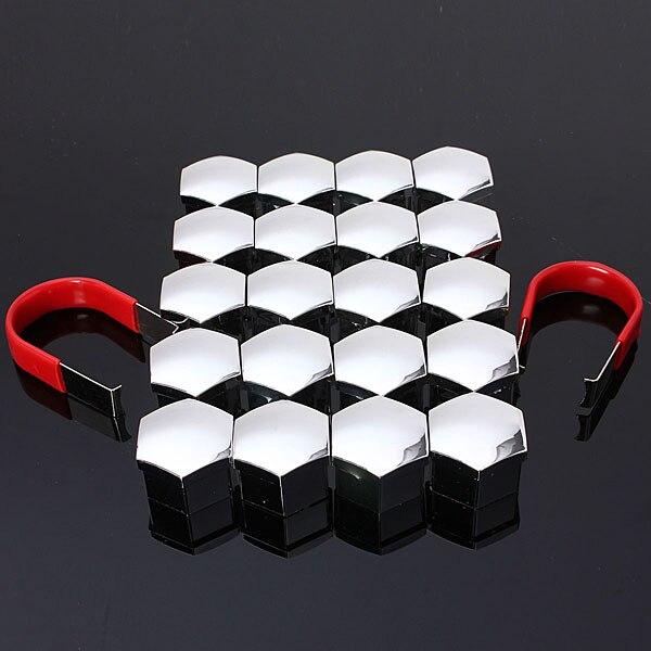 20pcs/set 17mm Car Plastic Caps Bolts Head Covers Nuts Alloy Wheel Protectors Chrome Universal