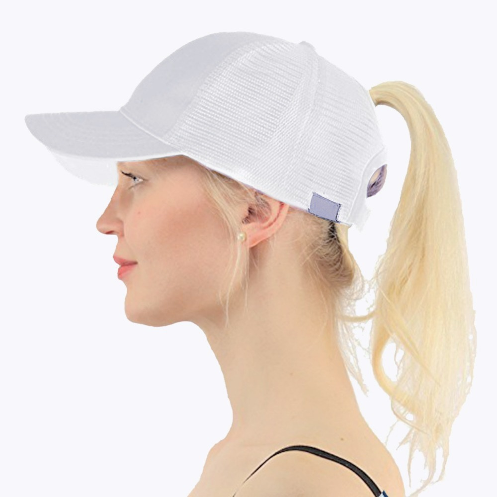 2018 Ponytail   Baseball     Cap   Women Adjust Sport Casual Messy Bun Snapback Mesh Hat Casual Adjustable Sport   Caps