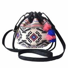 Bag again girl small bag lady ethnic printing mini bucket bag