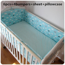Promotion! 6pcs Baby Crib Bedding Sets Cute Character Cotton Bed For Baby Boy Baby ,include(bumpers+sheet+pillow cover)