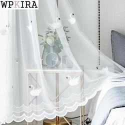Branco swan janela triagem cortinas de porta sólida cortina painel rosa sheer tule para sala estar bordado m062 & 30