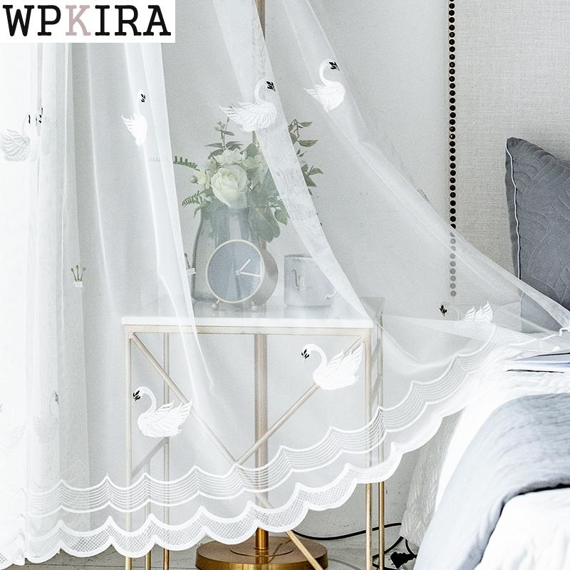 White Swan Window Screening Solid Door Curtains Drape Panel Pink Sheer Tulle For Living Room Embroidered Curtain M062&C