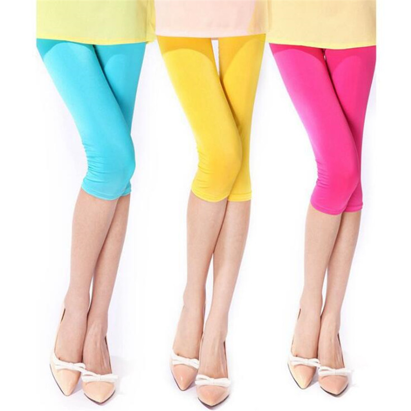 CUHAKCI Women Summer   Leggings   Sexy Solid Leggins Candy Neon High Stretched Short Jeggings Fitness Ballet Cropped Trousers
