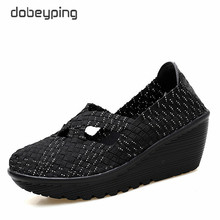 dobeyping New Spring Autumn Shoes Woman Hand Woven Flat Platform Women Shoes Thick Sole Women's Loafers Wedges Female Swing Shoe