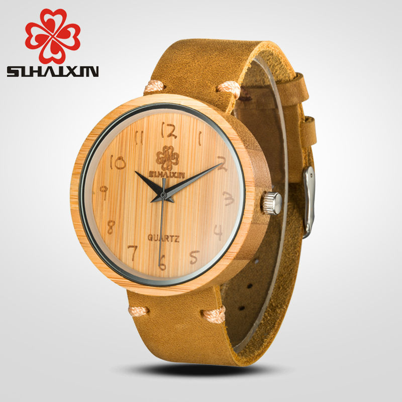 SIHAIXIN Wood Watch Men Luxury Brand With Genuine Leather Strap Bamboo Wooden Watches Male Quartz Wristwatches Clock For Mens men wooden watch for male quartz wristwatches sandalwood strap calendar clock luxury brand wood watch with gift box friend 100bg