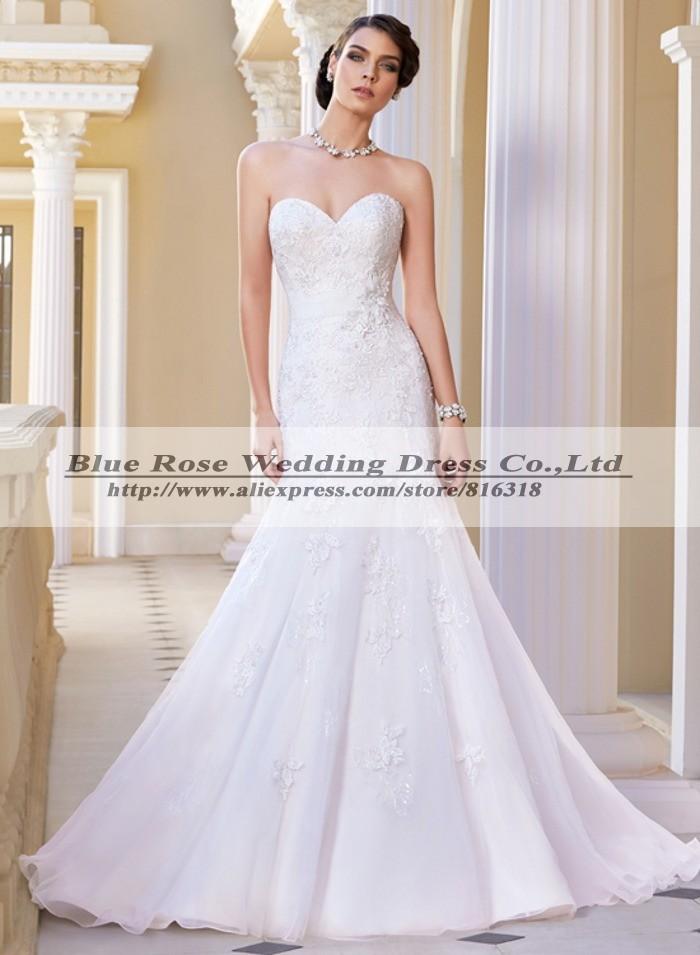 Robe De Marriage 2014 Strapless Lace Wedding Dress Mermaid Victorian ...