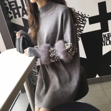 Winter Long Sweaters Women Casual Pullover Jumpers Real Rabbit Fur Sweater pull femme Pullovers bead Pearl turtleneck jumper