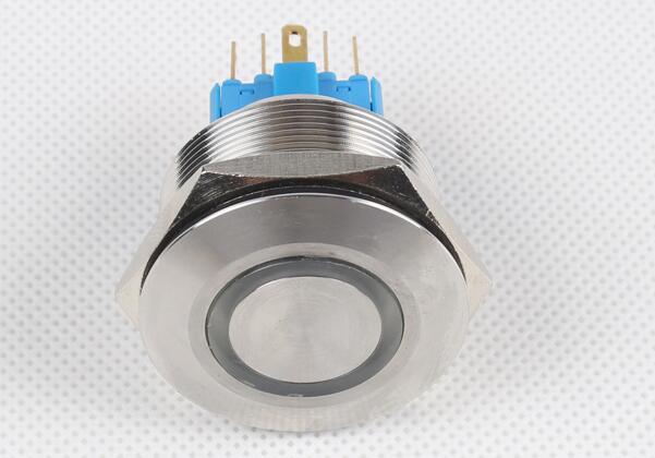 1pcs/lot 30mm metal stainless steel waterproof anti-corrosion self-locking ring LED lights flat head button switch