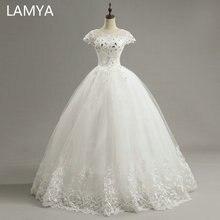 LAMYA Short Lace Sleeve Vintage Wedding Dress Princess Plus Size Bride Gowns Dresses Fashion vestido de noiva