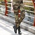 Das Mulheres da forma Calças de Camuflagem Do Exército das Mulheres de Carga Calça Lápis de Algodão Fino Cintura Das Senhoras Calças Justas Para As Mulheres GK-969