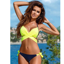 Push Up Cross Stripe Halter Top Print Bathing Suit