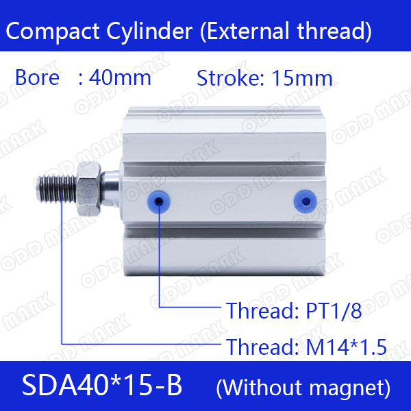SDA40*15-B Free shipping 40mm Bore 15mm Stroke External thread Compact Air Cylinders Dual Action Air Pneumatic Cylinder