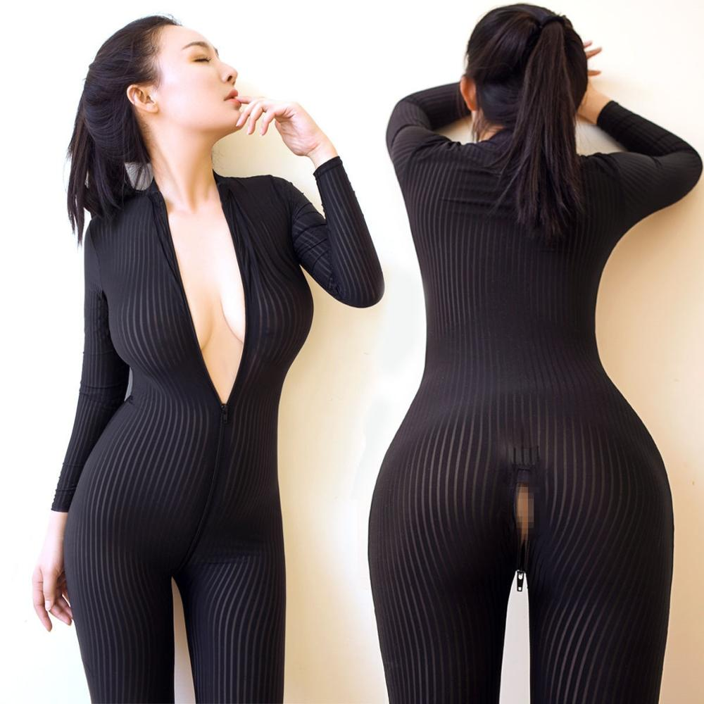 Learned Dame Striped Sheer Bodysuit Smooth Fiber 2 Zipper Long Sleeve Costume Jumpsuit Bodys Damenmode
