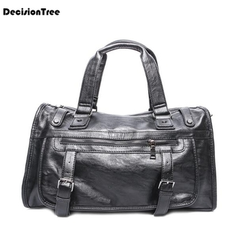 Fashion Retro Genuine Leather Male Shoulder Bag Large Capacity Luggage Bags Casual Portable Multifunction Travel Duffle Bag L497 high capacity genuine leather travel bag fashion casual handbags shoulder bag men s duffle travel bags