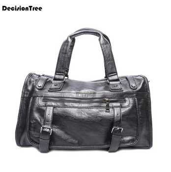 Fashion Retro Genuine Leather Male Shoulder Bag Large Capacity Luggage Bags Casual Portable Multifunction Travel Duffle Bag L497 - DISCOUNT ITEM  23 OFF Luggage & Bags
