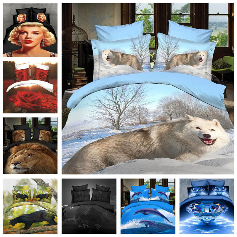 hot sale New HD printing 3D bedding set ,Animal and flower bed set 4pcs quilt/bed sheet/pillowcases home bedclothes XQ-10