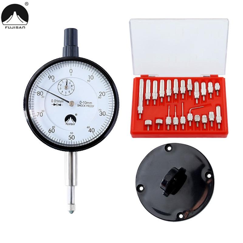 Dial Indicator 0-10mm Lug Back Test Gauge and 22pcs Anvil Point Set Thread 2.5mm