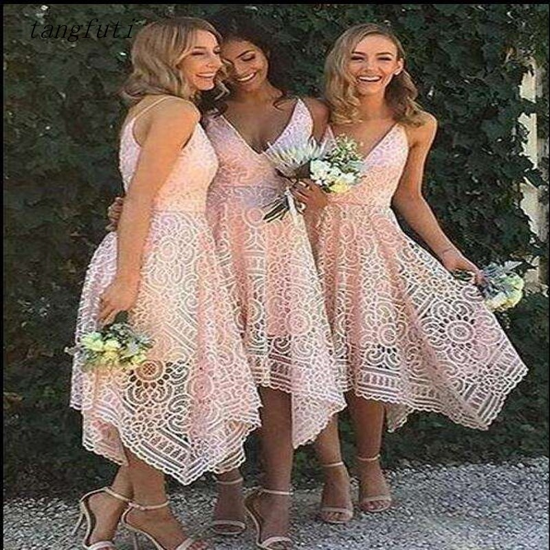 Pink A Line Lace   Bridesmaid     Dresses   Tea Length New Sexy Backless Pleat robe demoiselle d'honneur Wedding Party   Dress   Gown Wear