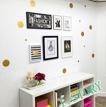 Polka Dot Wall Sticker Gold Wall Decal , Peel and Stick Metallic Gold Polka Dot Wall Sticker Home Decor