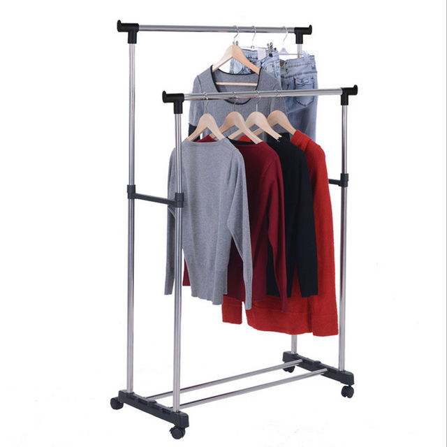 Newest Clothes Hanging Rail Portable Adjustable Garment Rack Rolling Cloth Dryer Organizer With Shoes Shelf Stretching