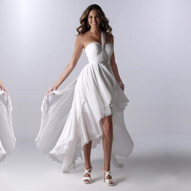 Elegant Glamorous White Ivory Chiffon Beach Hi-Lo Pure Crystals One Shoulder Sleeveless Bridal Gown 2018   bridesmaid     dresses