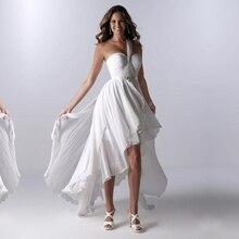 Elegant Glamorous White Ivory Chiffon Beach Hi-Lo Wedding Dresses Pure Crystals One Shoulder Sleeveless Bridal Gowns