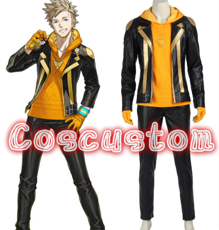 Coscustom High Quality Pokemon Go Costume Team Instinct Spark Costume pokemon cosplay leather adult Christmas Cosplay Costume