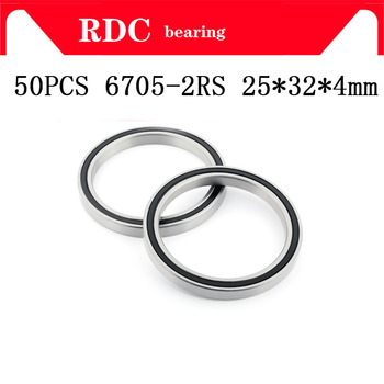 Free Shipping 50PCS ABEC-5 6705-2RS High quality 6705RS 6705 2RS RS 25x32x4 mm ultra-thin Rubber seal Deep Groove Ball Bearing