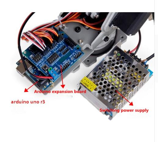6 DOF / 4 DOF Arduino uno r3 expansion board Robot control system Robot arm control system for 5V 4A switching power supply multifunctional nano uno expansion board for arduino duemilanove 2009 uno r1 yellow blue