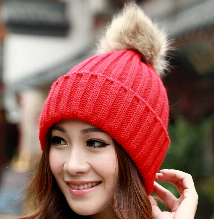 2015 New Arrival Fashion Casual Furry Ball Knitted Solid Hats Winter Warm Cute Skullies Beanies  wf-5158