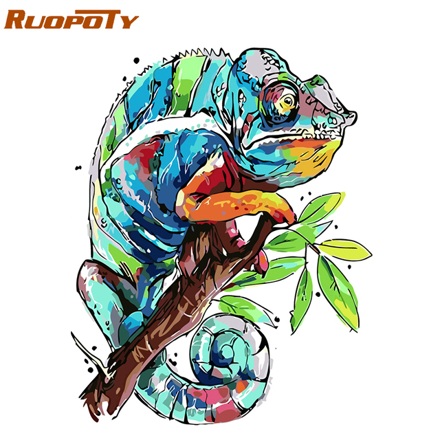RUOPOTY Frame Abstract Frog DIY Painting By Numbers Kits Acrylic Paint On Canvas Modern Wall Art Picture For Home Decor 40x50cm