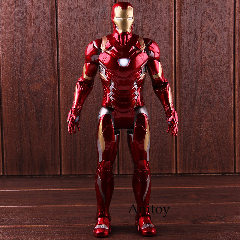 Captain American Civil War Marvel Iron Man Figure Action with Light PVC Collectible Model Toy 36cm