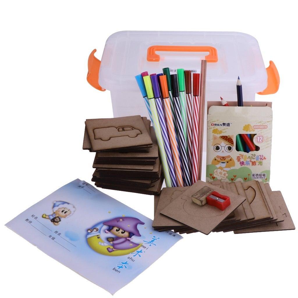 50 pcs en bois dessin pochoirs modèles outils ensemble début d'apprentissage éducatif Art jouets cadeau d'anniversaire pour enfants enfants en bas âge