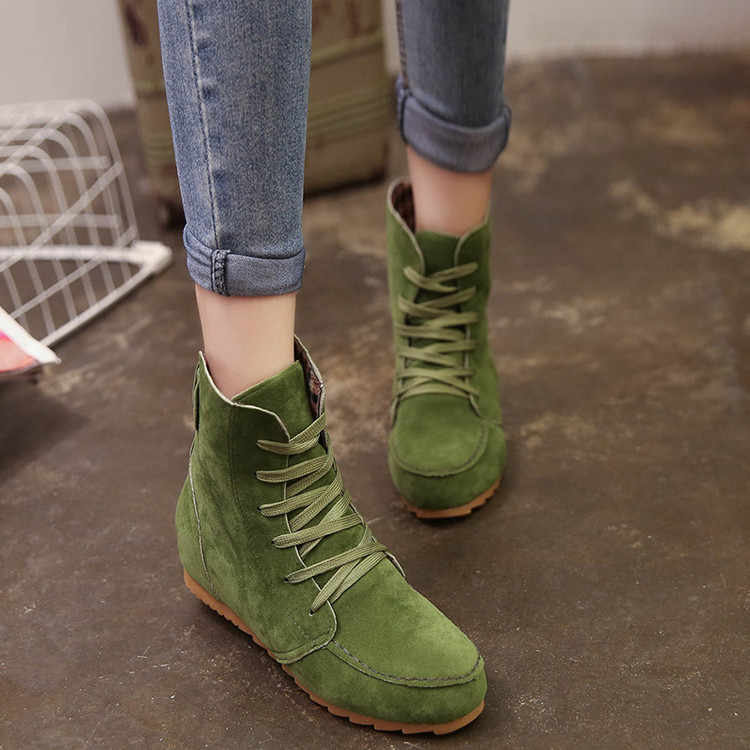 2016 Sıcak yeni Sonbahar Kış Kadın Çizmeler Katı Avrupa Bayan ayakkabı botları Süet Deri yarım çizmeler kalın scr