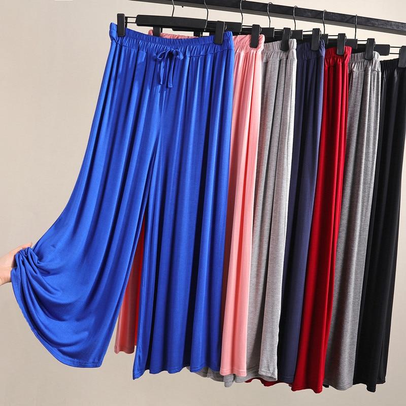 WKOUD Candy Colors Women's   Wide     Leg     Pants   Summer Loose Modal Cotton Ankle-length Home   Pants   Elastic Waist Casual Trousers P9018