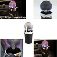 1pcs Universal Portable Smokeless Auto LED Car Ashtray Cigarette Ash Holder Smoke Cigar Holder Cigarette LW