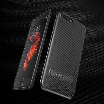 Carbon fiber line kickstand case for iphone 8 plus 8 case TPU+AL 360 screen protective back cover for iphone 8 8plus 7 7plus 6s iPhone 8