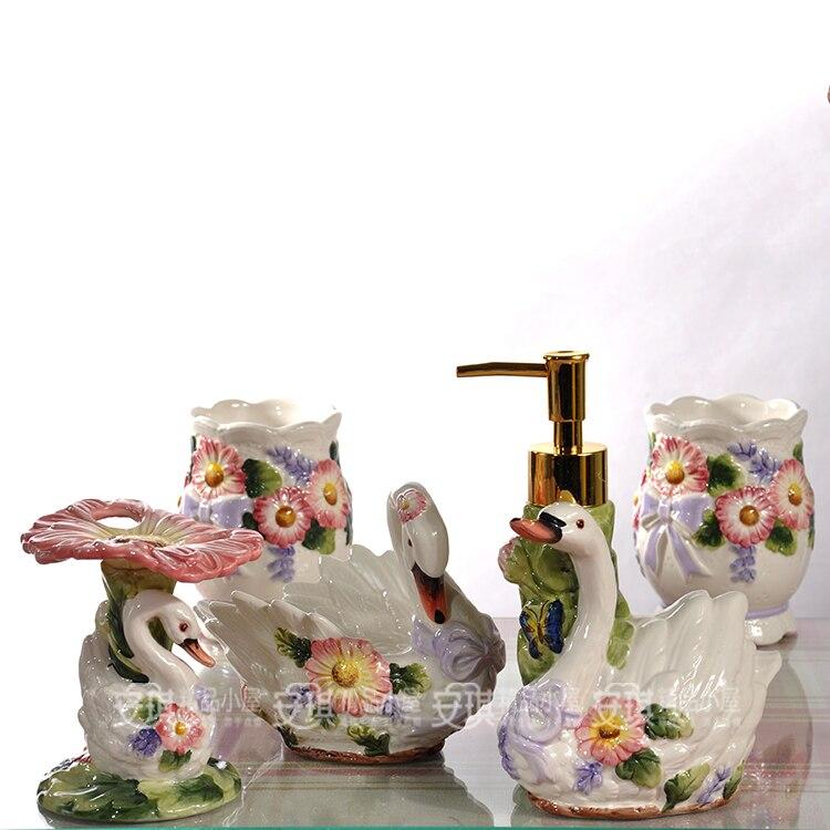 Белые керамические цветы Лебедь зубная щетка держатель мыло блюдо аксессуары для ванной комнаты Набор Свадебные подарки Домашний декор фа