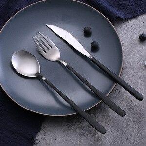 Image 2 - Niebieski zestaw złotych sztućców ze stali nierdzewnej zachodniej stołowe łyżka widelec nóż w odniesieniu do żywności fotografia tło tło do zdjęć rekwizyty