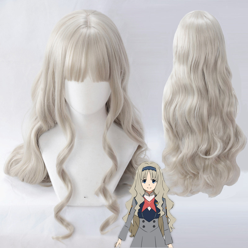 DARLING In The FRANXX 556 Cosplay Wigs Kokoro Wigs 80cm Long Wavy Synthetic Hair Perucas Cosplay Wig+wig Cap